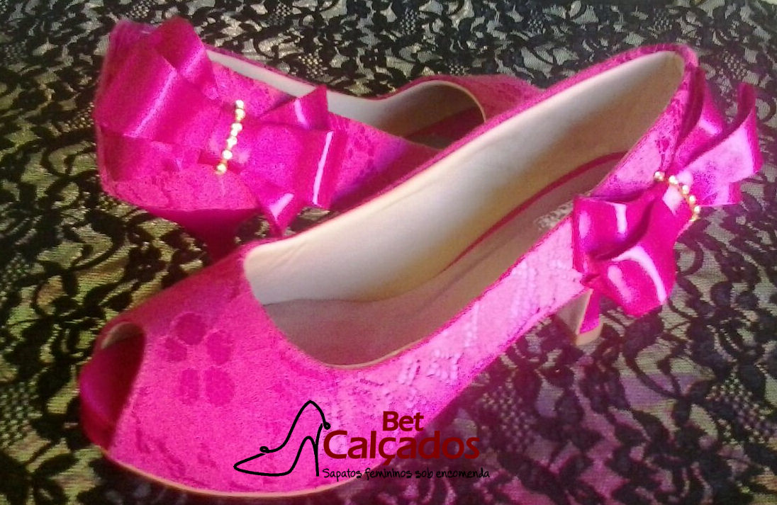 266352cc6b82 Sapato Rosa Pink Rendado Laco Estrela010 | Elo7