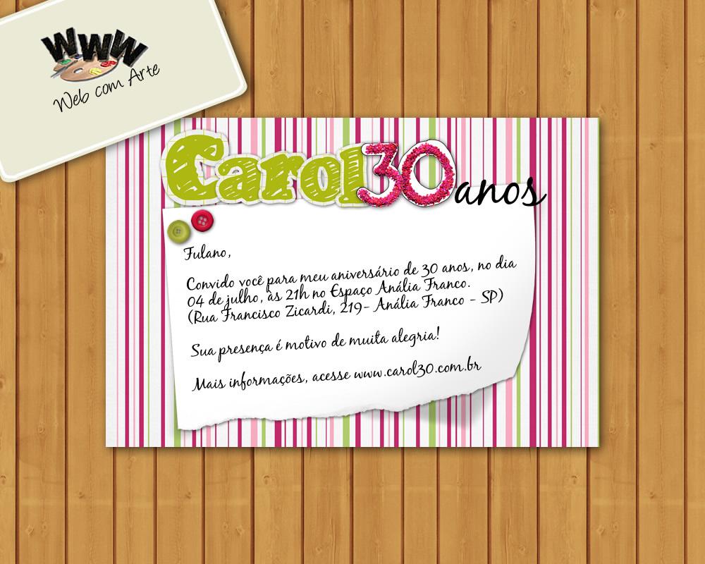 Convite Digital 30 Anos No Elo7 Web Com Arte 4f5b91