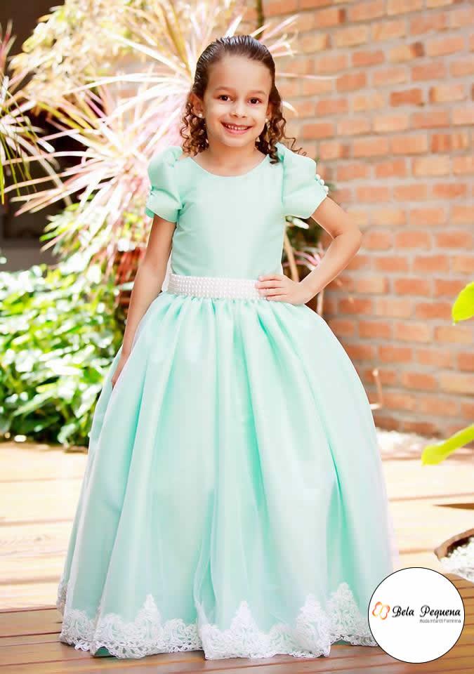 Vestido verde agua infantil