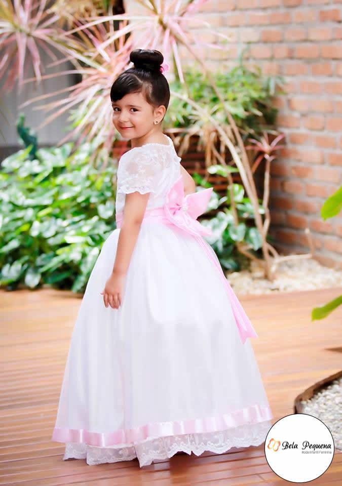 Vestido Branco Festa Princesa Com Laco Elo7