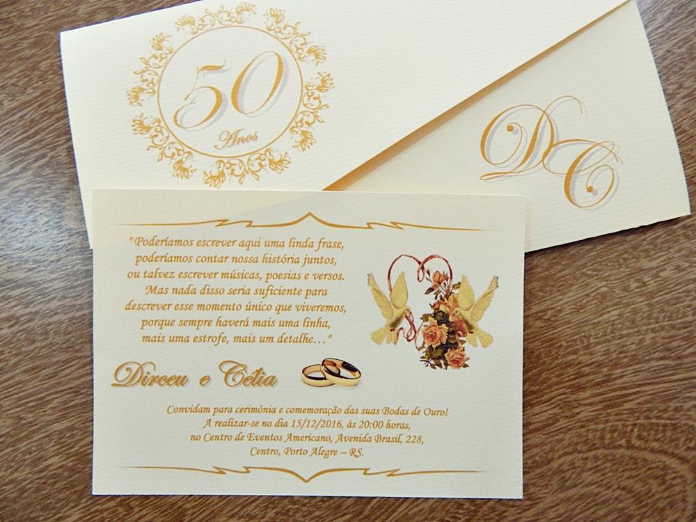 Convite Bodas De Ouro Elo7