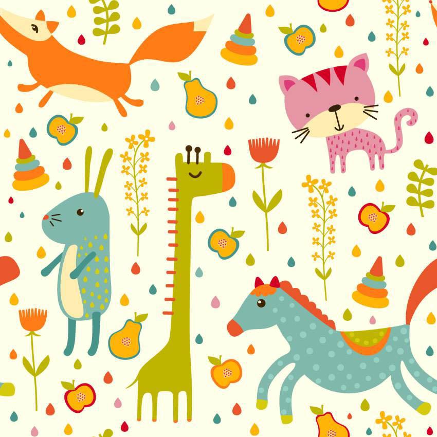 Papel de parede flores e animais jmi decor elo7 - Papel para pared infantil ...