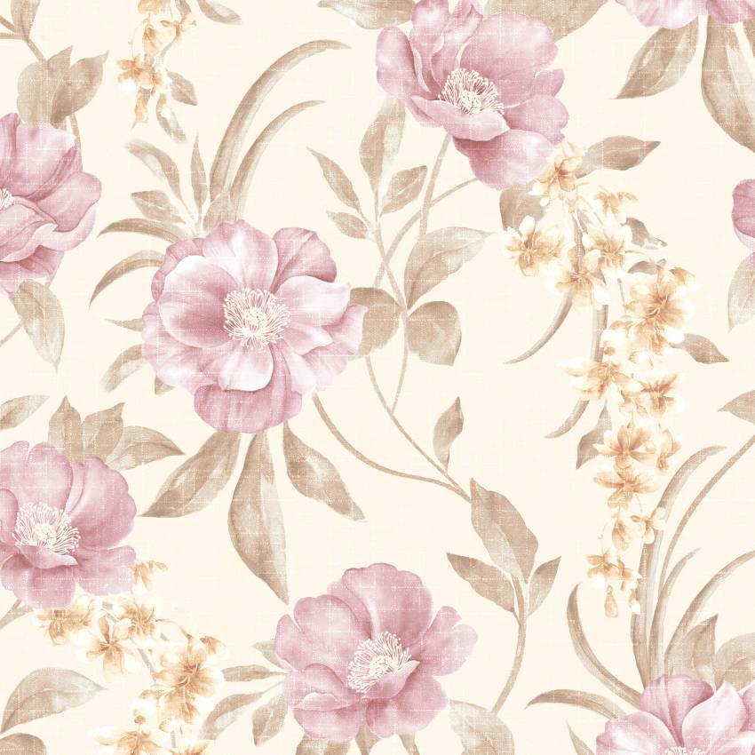 Papel parede flores rosas for Papel de pared dorado