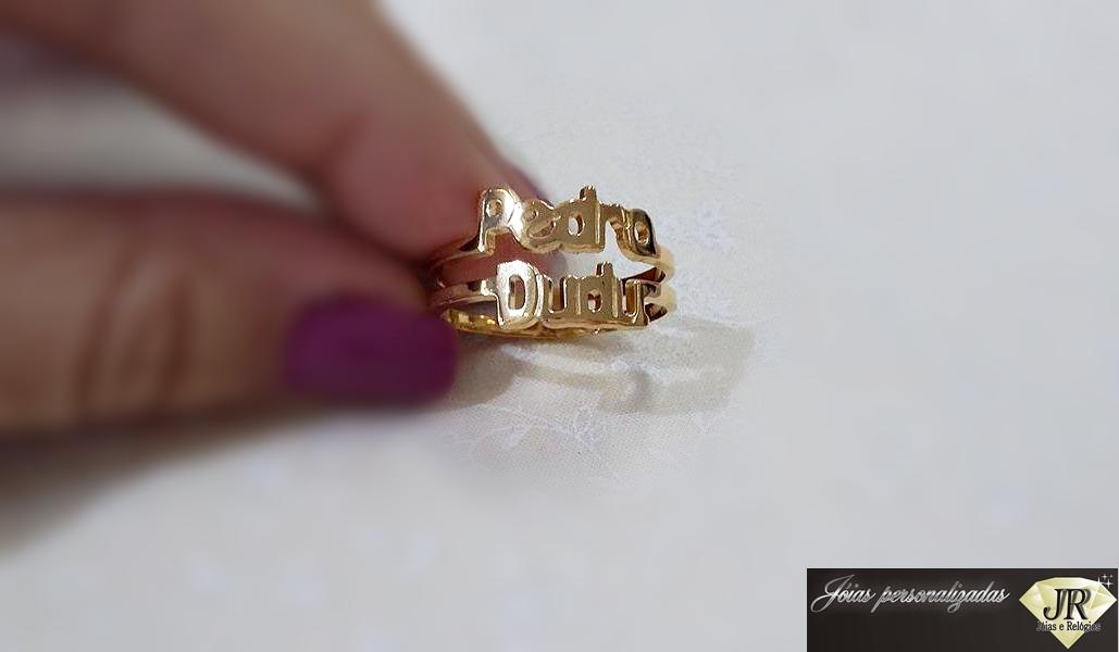 568e133dc74 Anel Nome prata com banho de ouro no Elo7