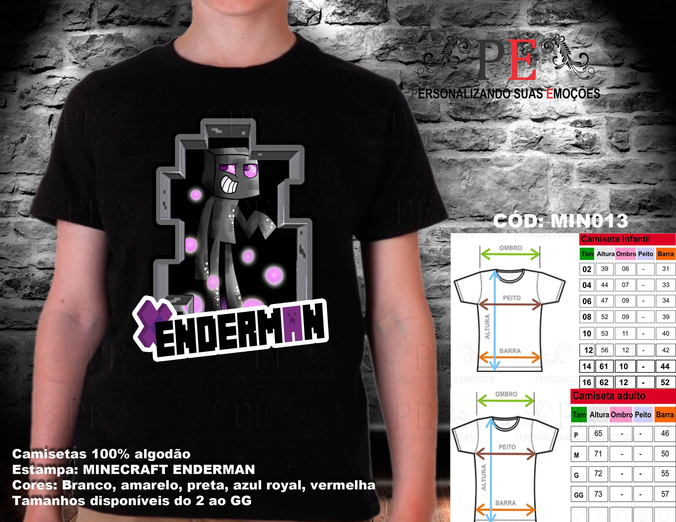 Camiseta Camisa Minecraft Enderman  b98f47d3ef5e2