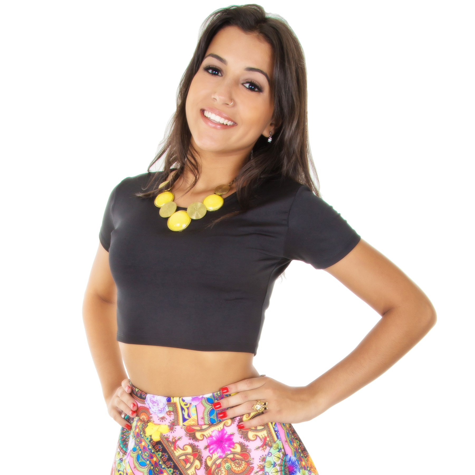 1fc1178237 Top Cropped Manga Curta Preto