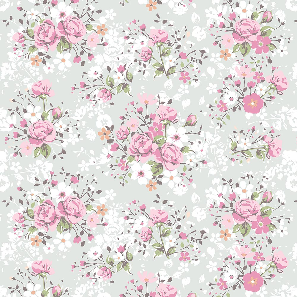 Papel De Parede Floral Delicado Em Rosa,