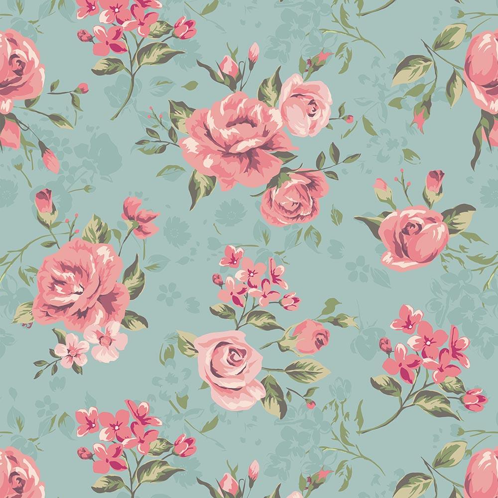 Papel de parede florais com rosas delic jmi decor elo7 - Papel decorado para paredes ...