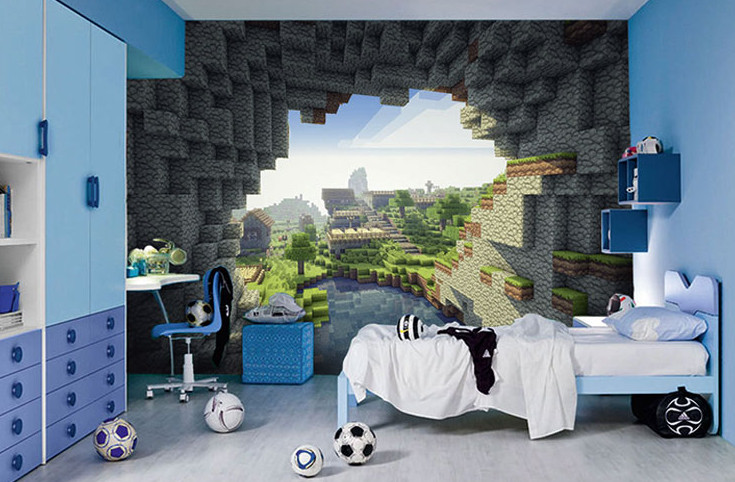 minecraft papel de parede adesivos e decora es aum elo7. Black Bedroom Furniture Sets. Home Design Ideas