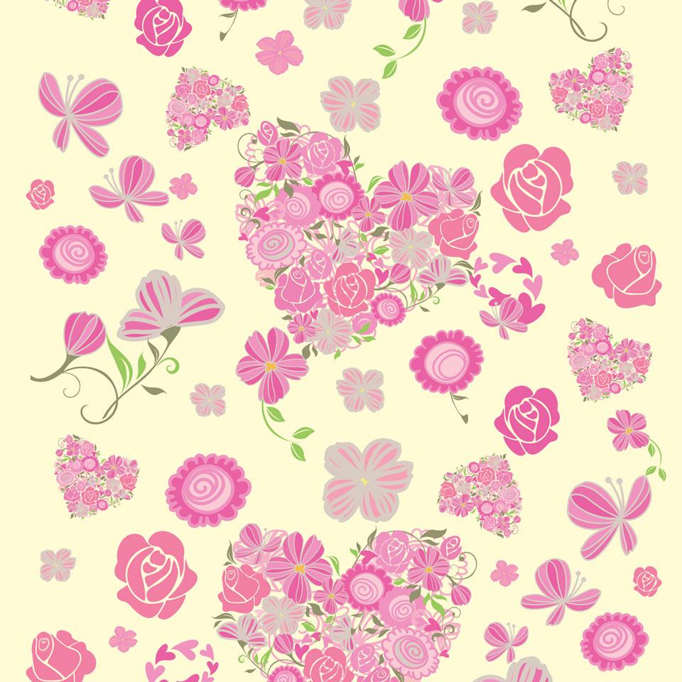 Papel de Parede Flores e Corações em Ton  JMI DECOR  Elo7