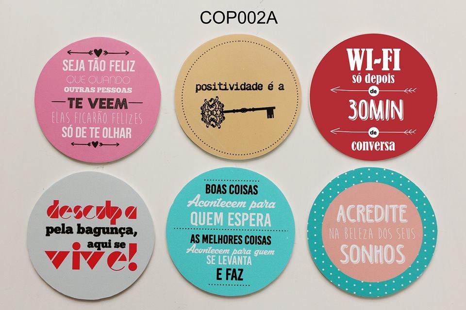 Jogo Porta Copos Frases 06 Pcs Cop002a Elo7