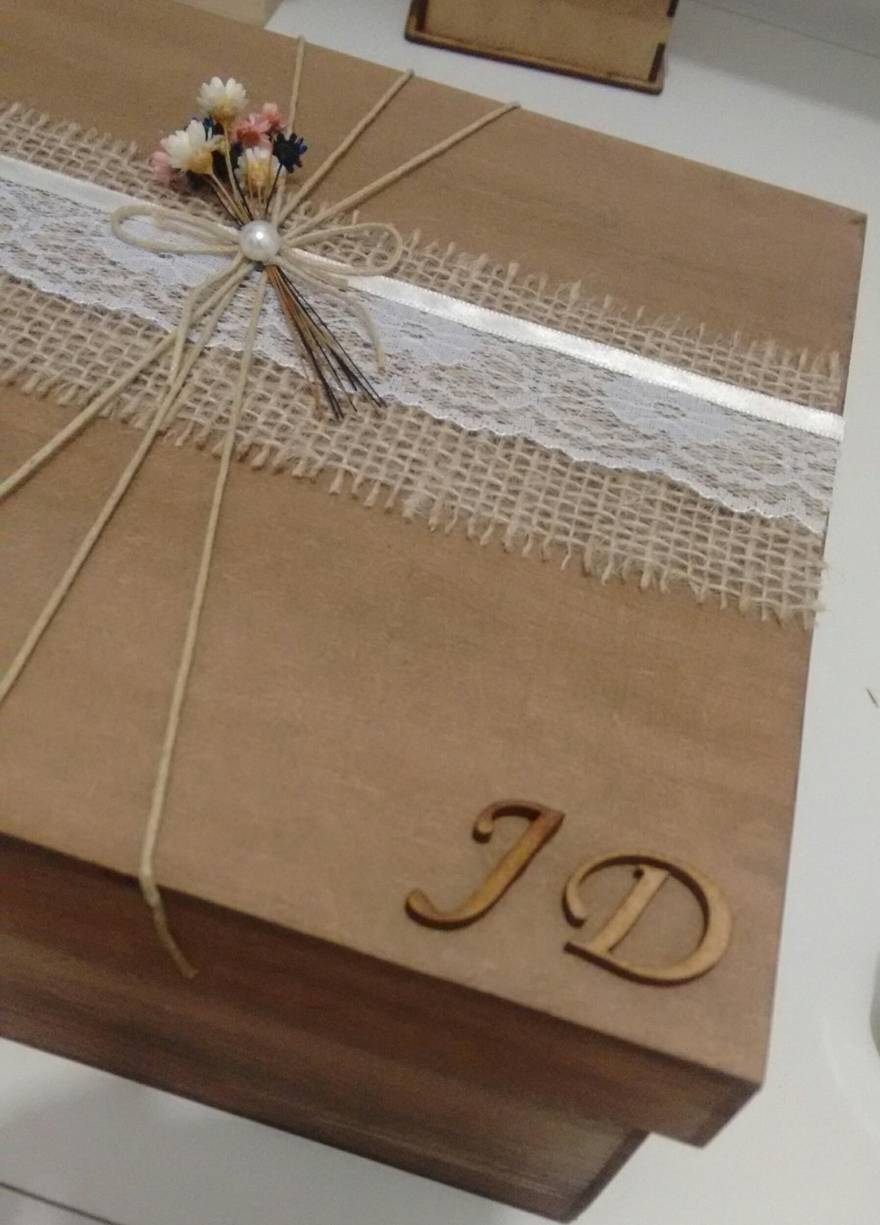 Caixa r stica padrinhos de casamento emp rio beatriz elo7 for Papel de pared rustico
