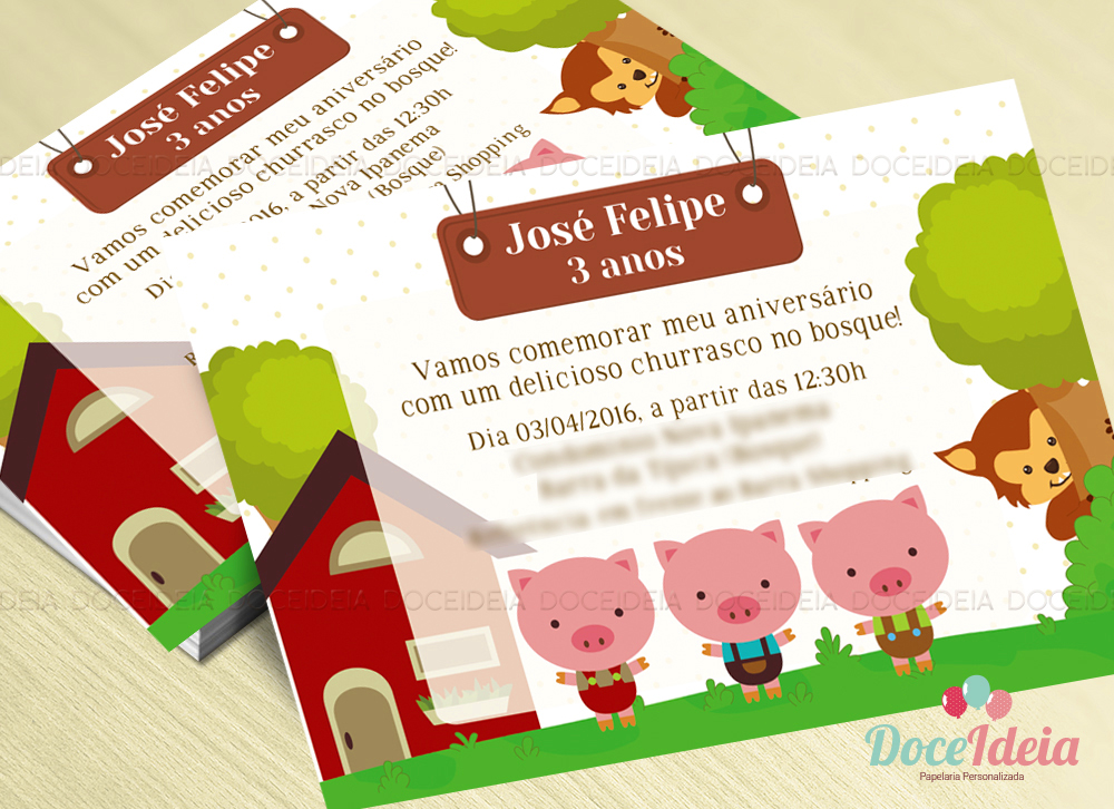 Convite Os 3 Porquinhos Elo7