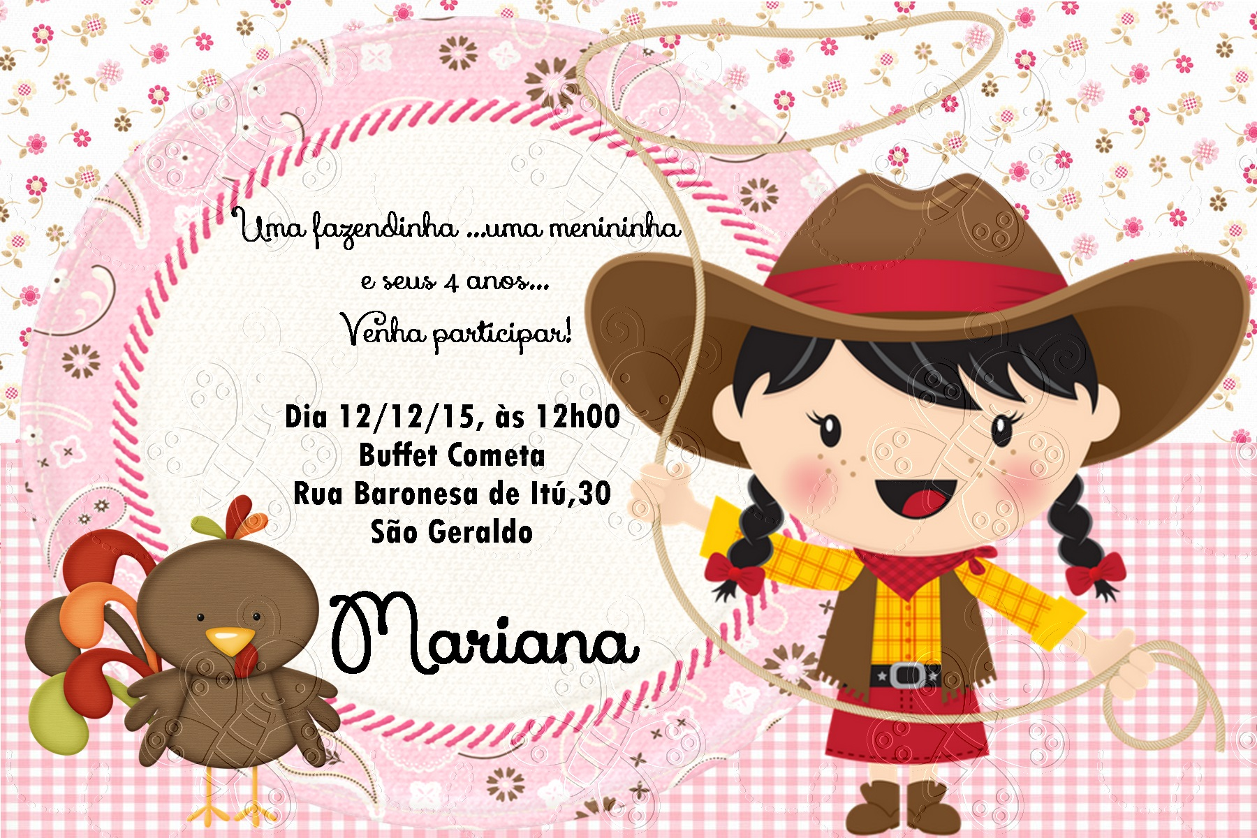 Well-known Convite Fazendinha Menina | Elo7 XM48