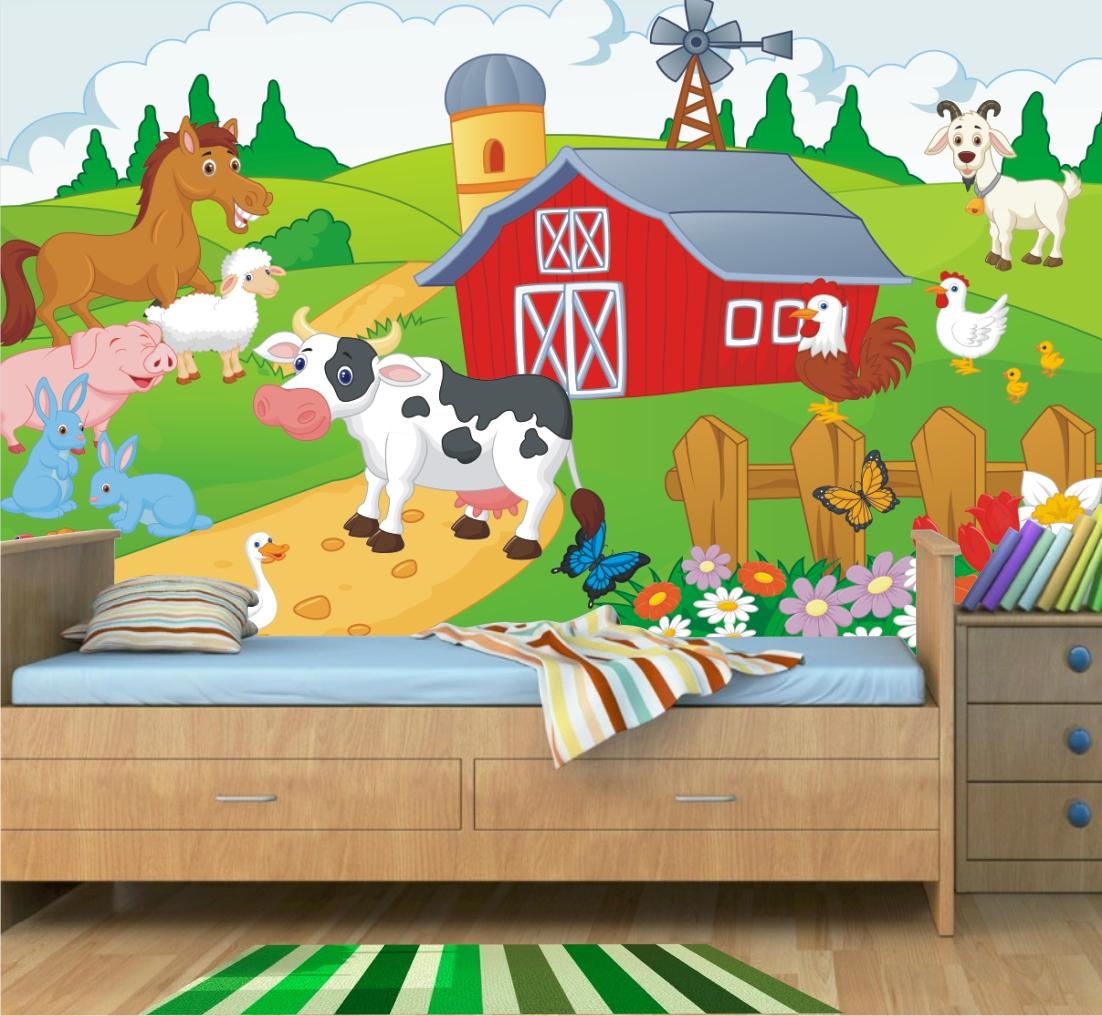Papel de parede infantil fazendinha 01 quartinhodecorado for Papel para pared infantil