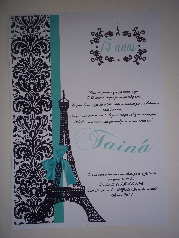 Convite De Aniversário De 15 Anos Paris No Elo7 Delart Convites