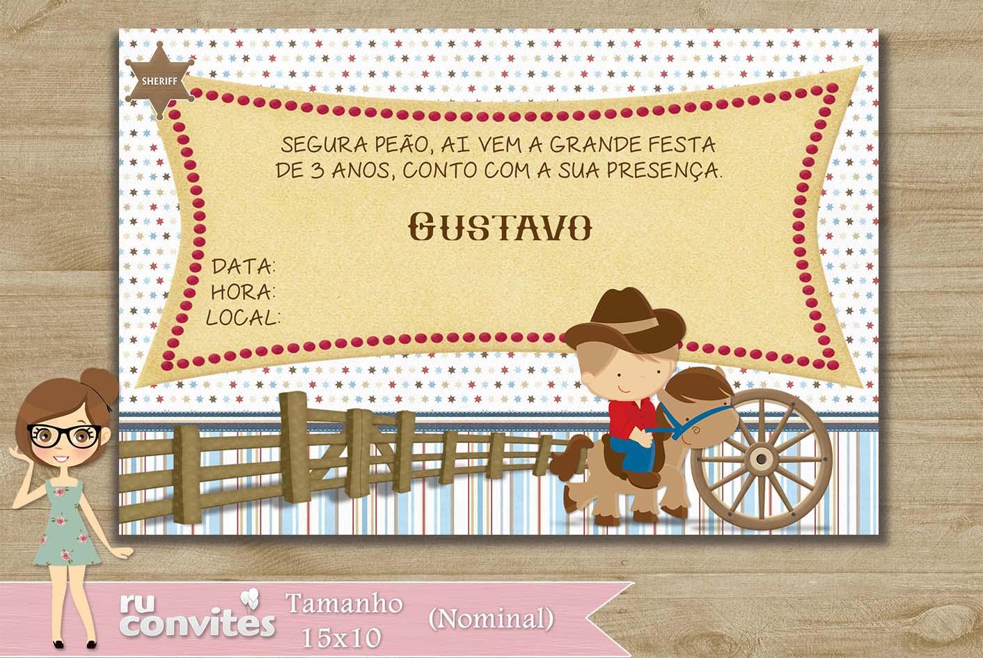 Convite Country Elo7