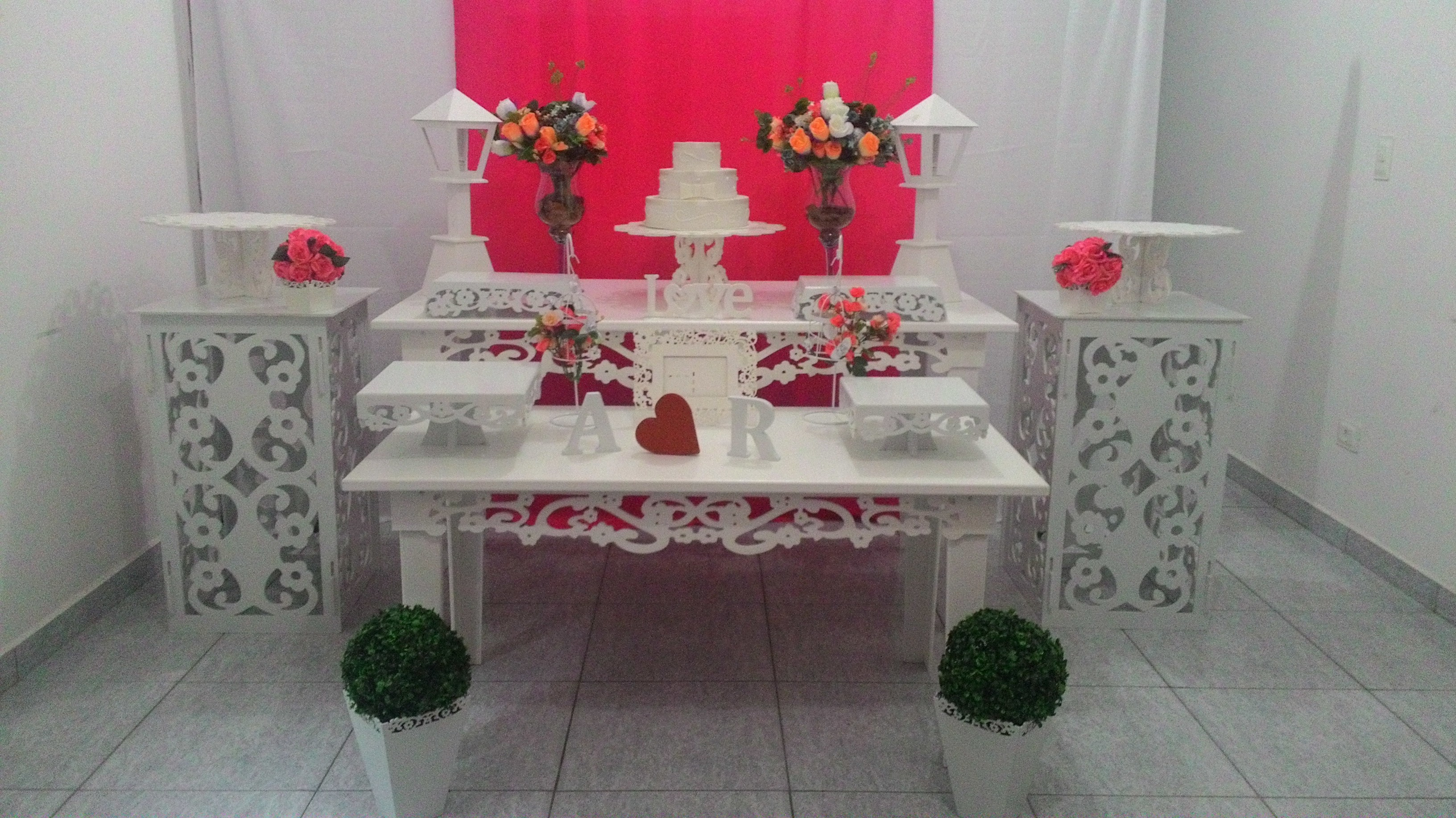 Aluguel decoraç u00e3o noivado casamento Kary Decora Elo7 -> Decoração De Noivado