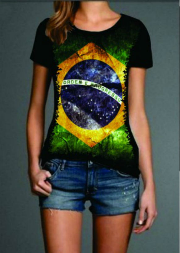 Camisa Bandeira do Brasil Feminina  24afecdc84e1c