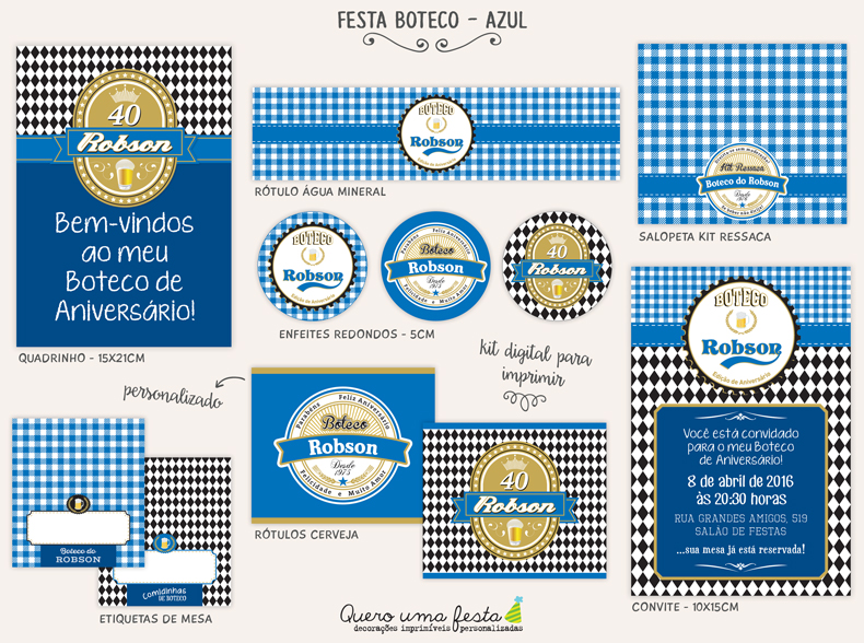 Kit Festa Boteco Preto Digital No Elo7 Quero Uma Festa 70866b