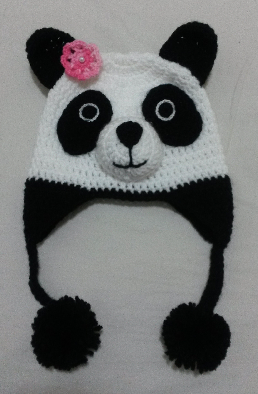 Touca panda em crochê no Elo7  99431443f24