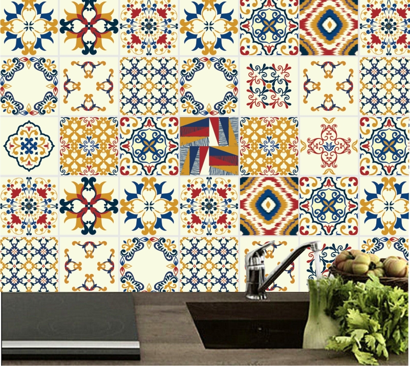 9cc736798 Adesivo de Parede Azulejos de Cozinha Decorativo