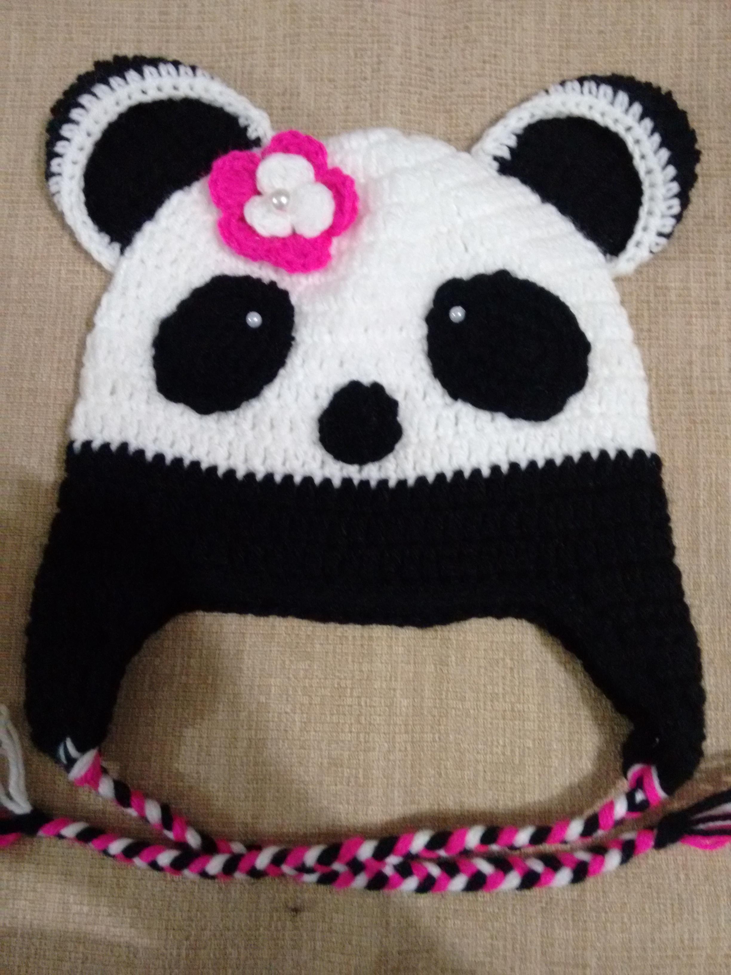 Touca do panda de croche no Elo7  3e16fbb175f