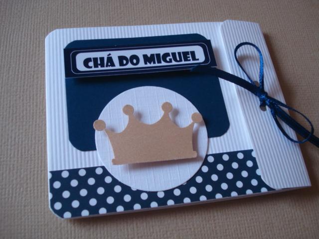 Convite Cha Coroa Azul Marinho Elo7