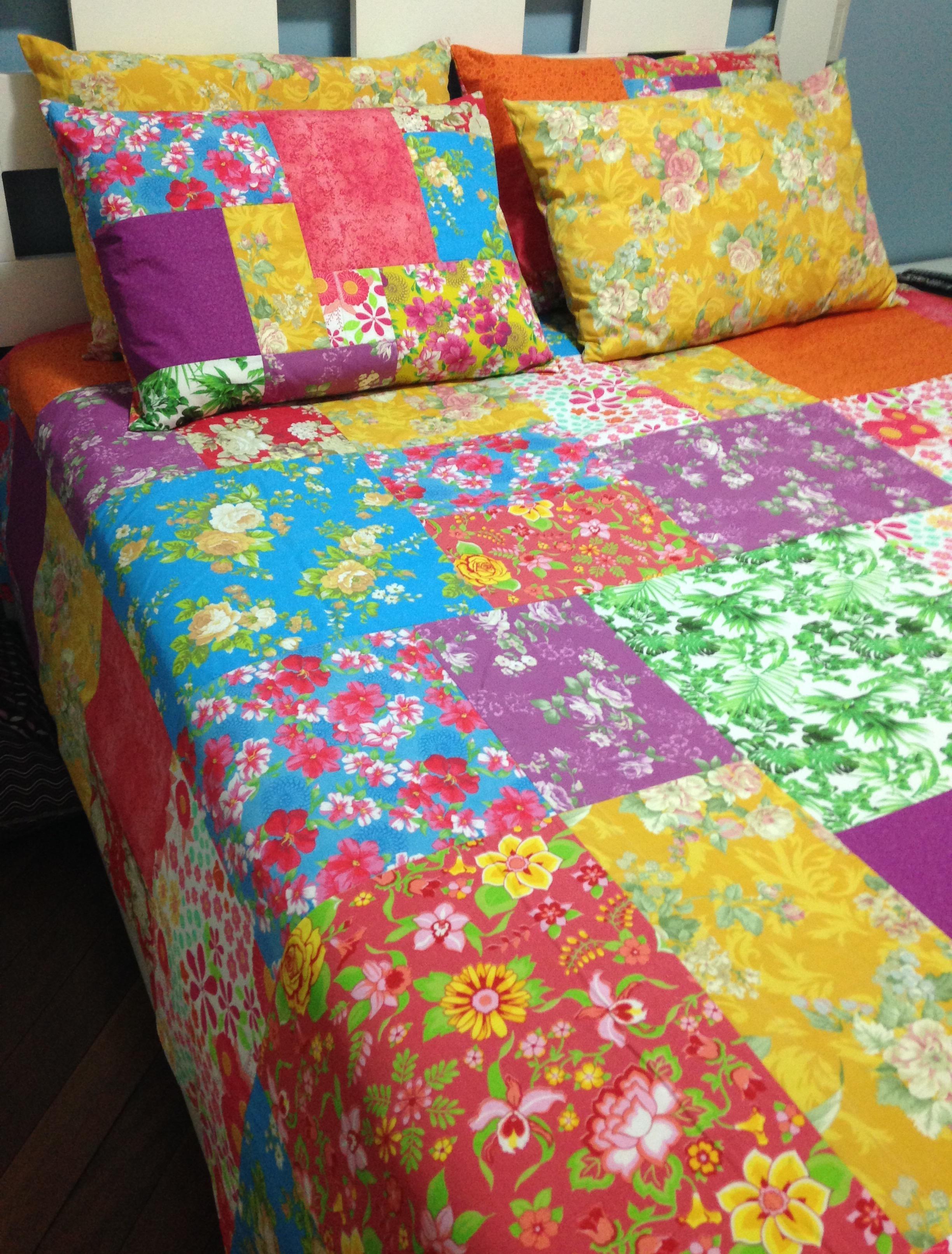 Colcha patchwork flores queen re padilha arte em tecidos elo7 - Colcha patchwork ...