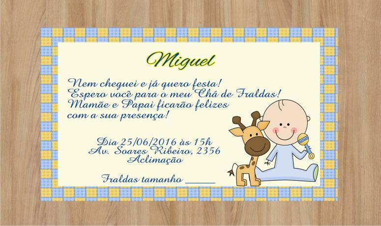 Convite Cha De Fralda Menino Elo7