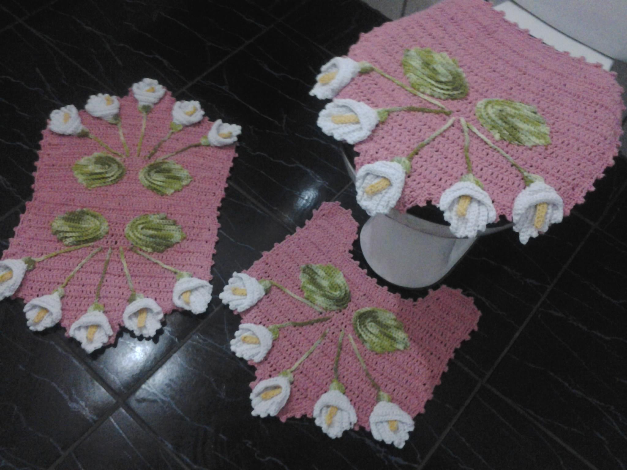 Jogo de banheiro  Hagatta Flor Artesanato  Elo7 # Jogo De Banheiro Simples Em Croche Passo A Passo