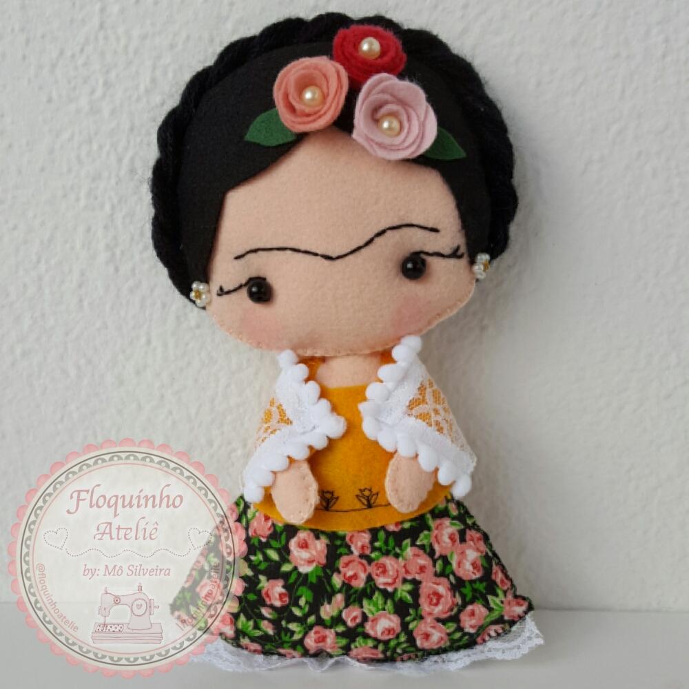 Frida kahlo feltro floquinho ateli elo7 for Cuartos decorados de frida kahlo