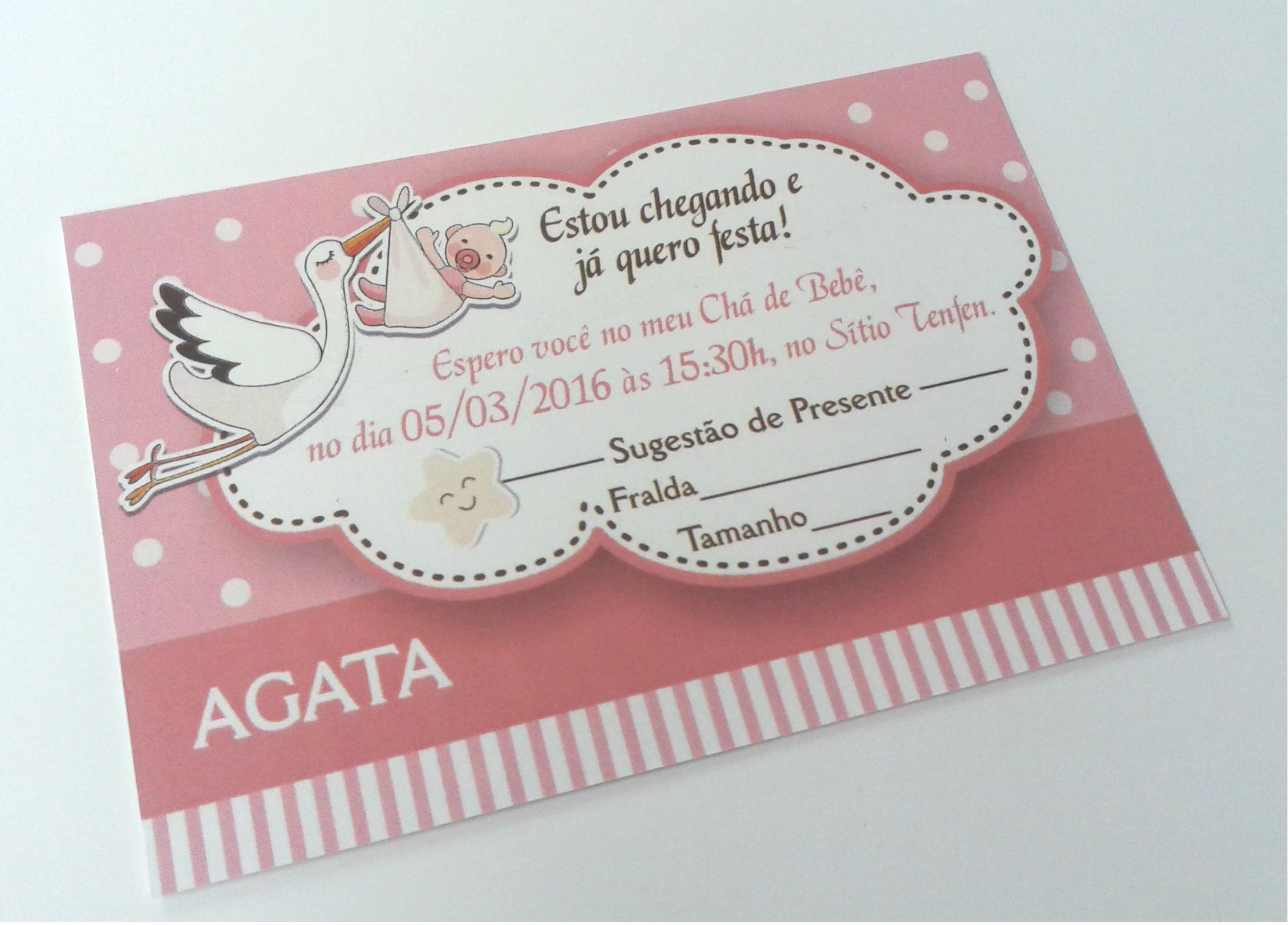 Promoção Convite Chá Bebê Cegonha Menina No Elo7 Paper Fast 7325a0