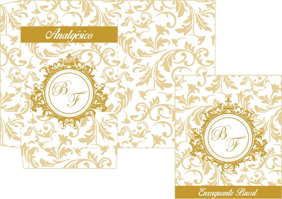 Kit Banheiro Casamento Moldes Dourado : Kit toalete para impress?o com monograma bela artes