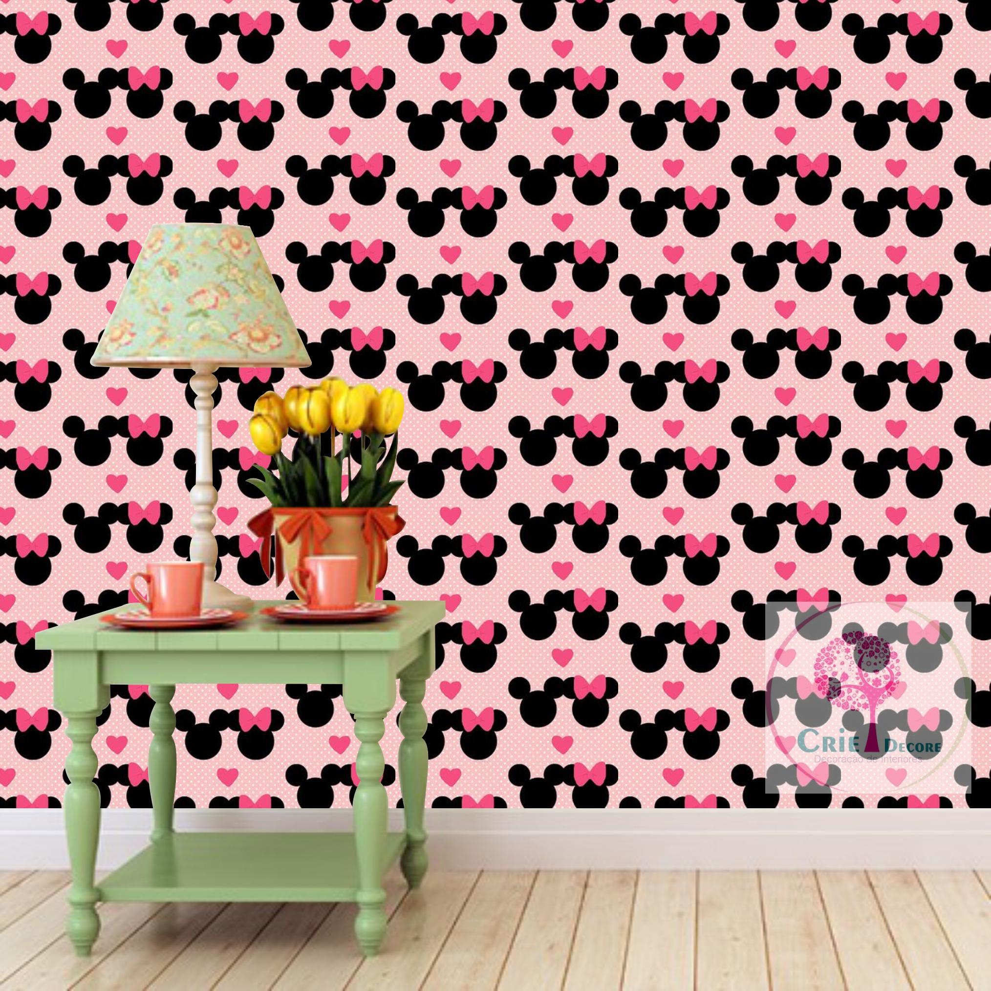 Papel de parede disney mickey minnie 09 crie decore elo7 - Papel infantil para paredes ...