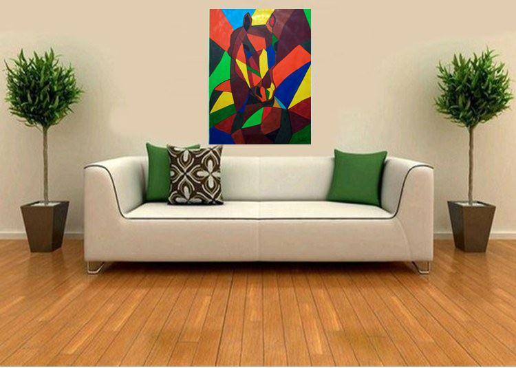 Quadro Cavalo Cubismo no Elo7 | Oficina de Arte (713B75)