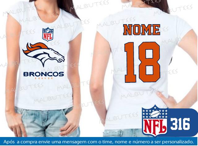 3db38d418 Camiseta Raglan Baby Look Denver Broncos Futebol Americano