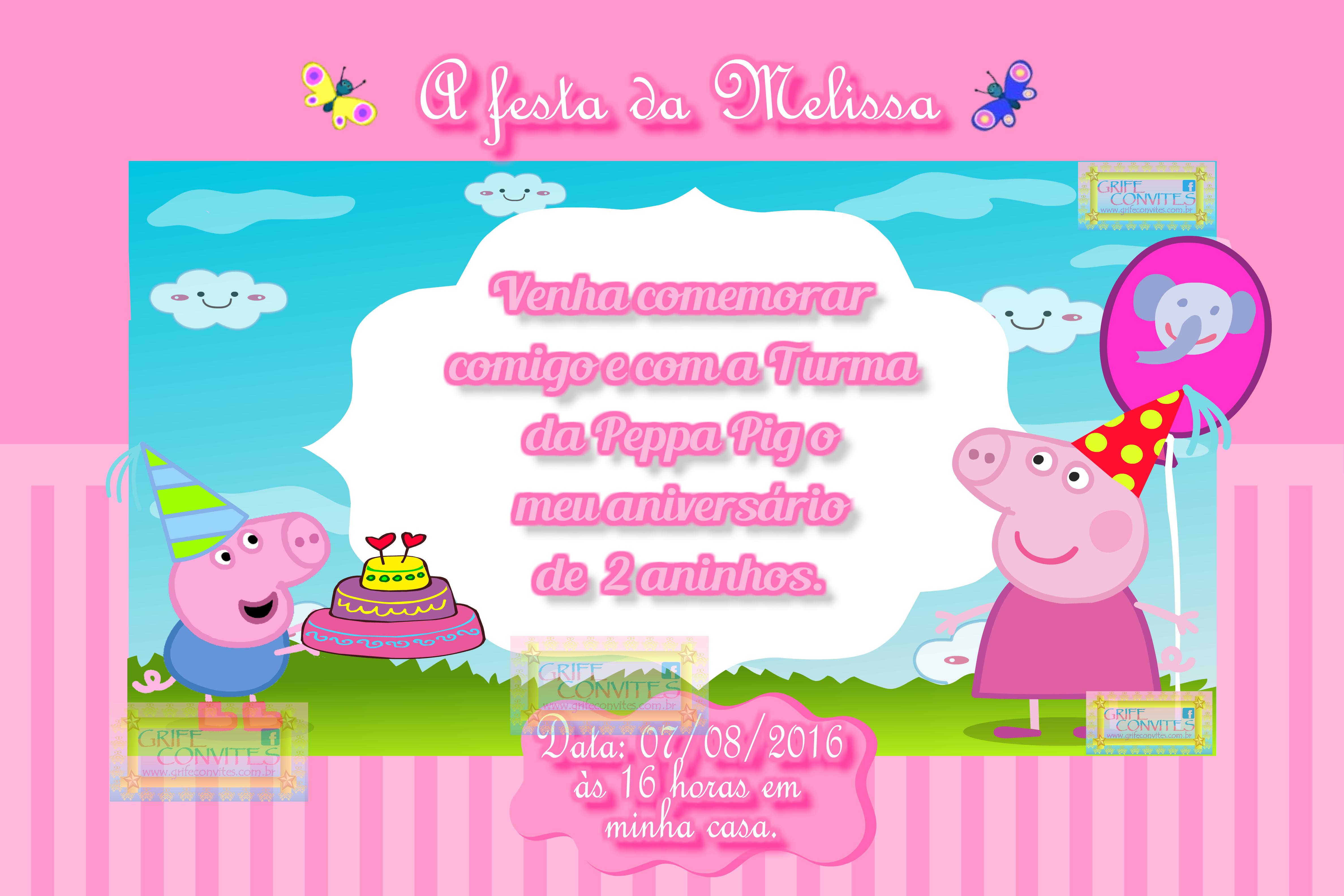 Que tal um convite gratuito e editável da Pepa Pig? E que tal três modelos  editáveis? Legal né!