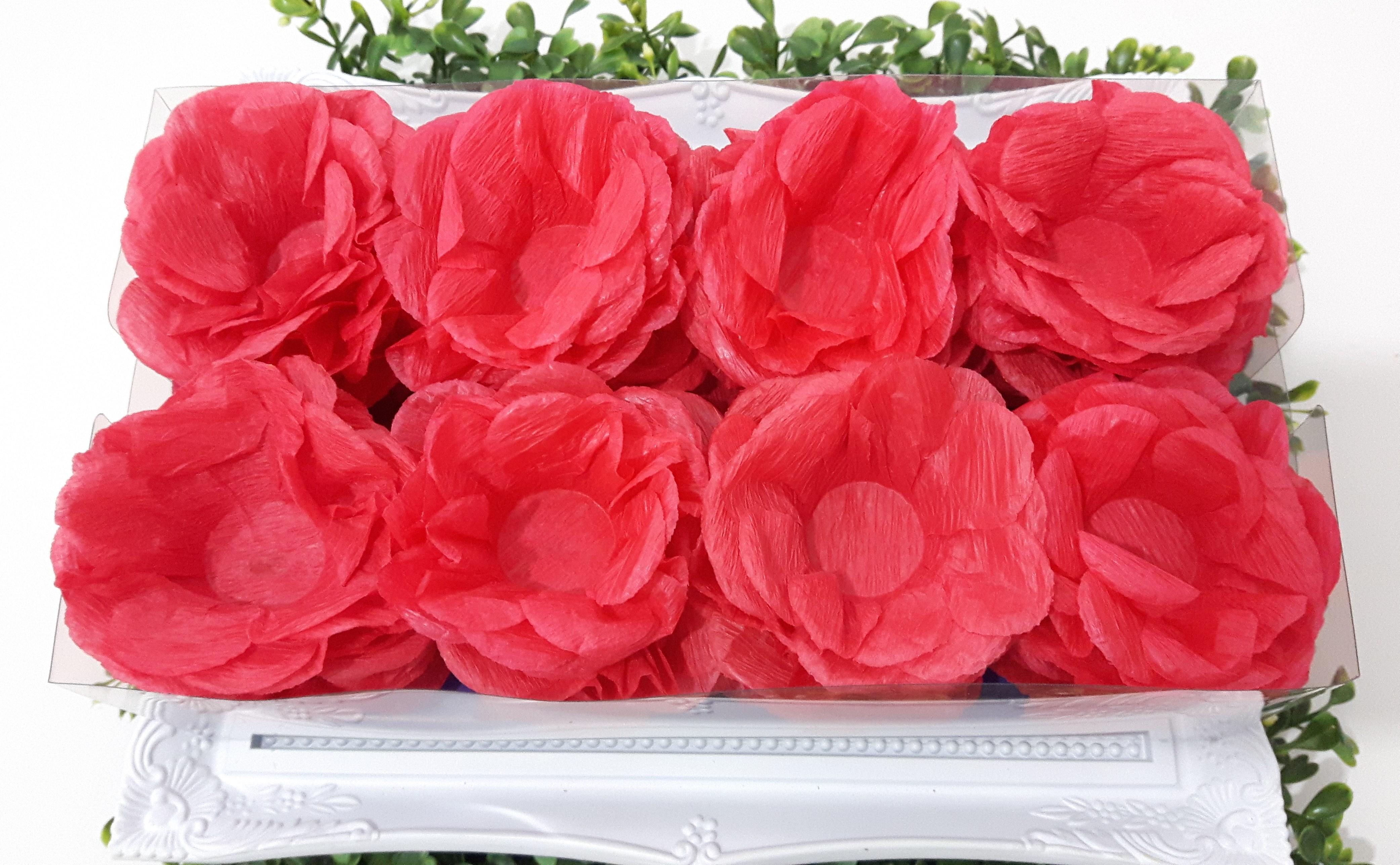Decoracao De Papel Crepom Vermelho E Branco Flores De Papel