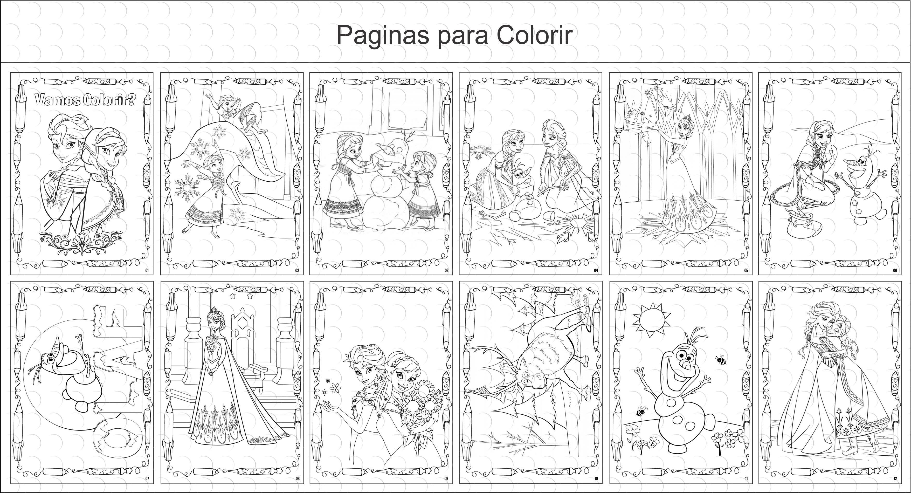 Mini Livros De Colorir 10x15 Ana E Elsa
