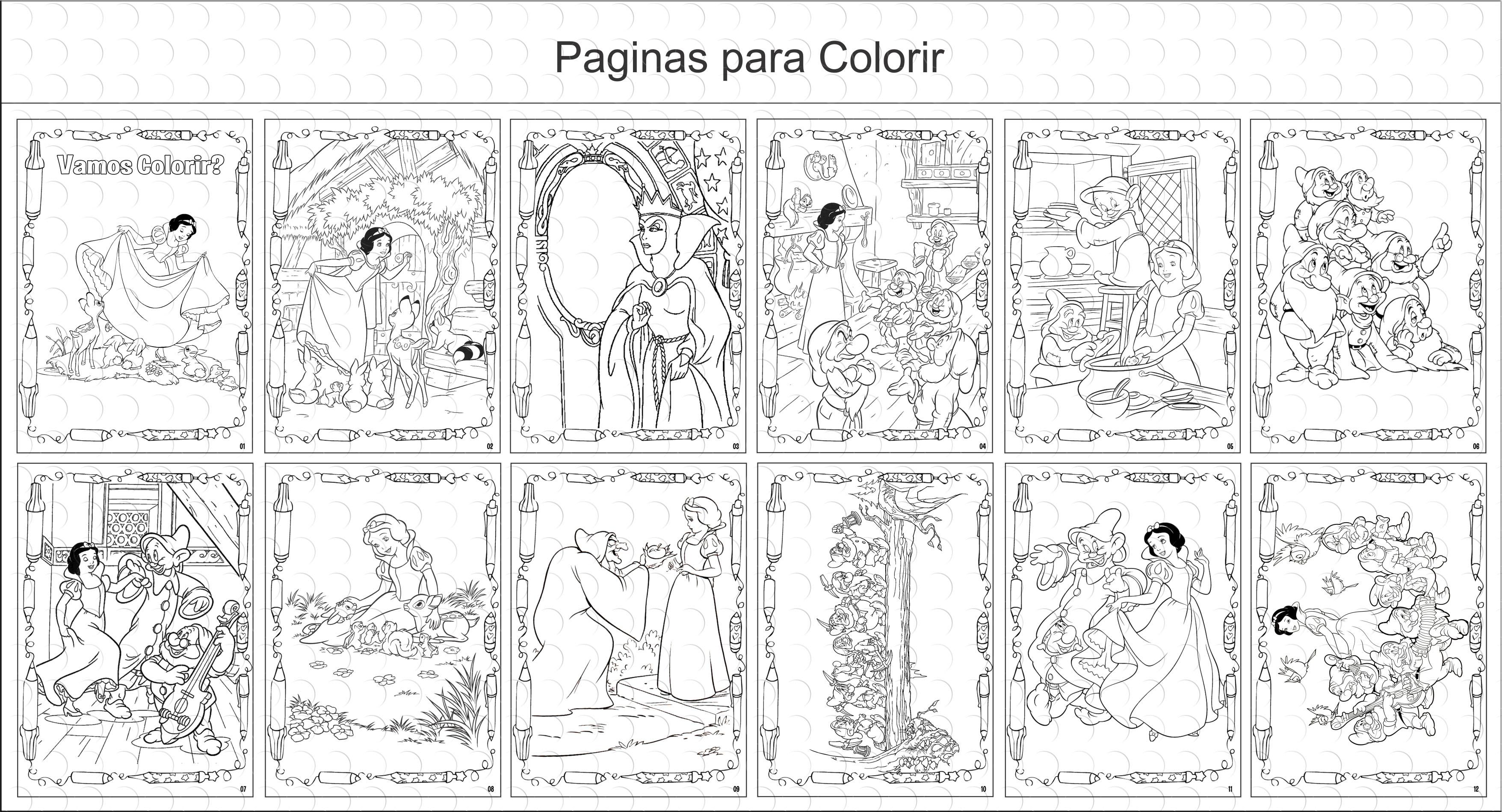 Livro De Colorir 10x15 Branca De Neve No Elo7 G A Personalize