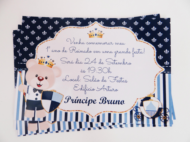 Convite Urso Príncipe No Elo7 Cia Convites 751664