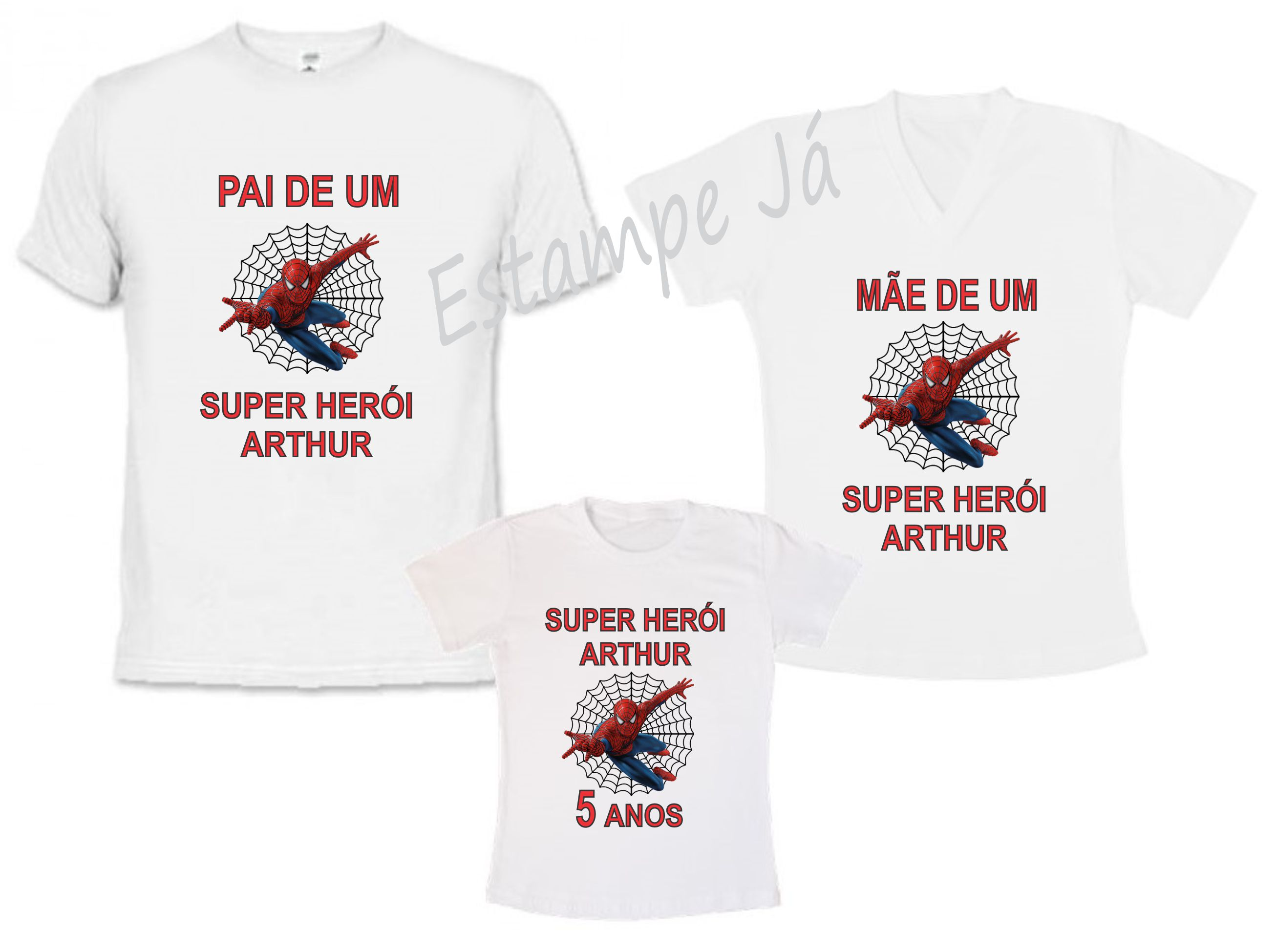 Kit Camiseta Personalizada Familia Homem Aranha  50954bc1820