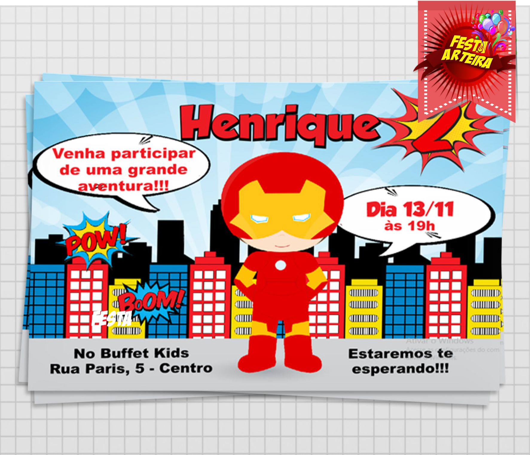 Convite Heróis Cute Homem De Ferro No Elo7 Md Conviteria 7533de