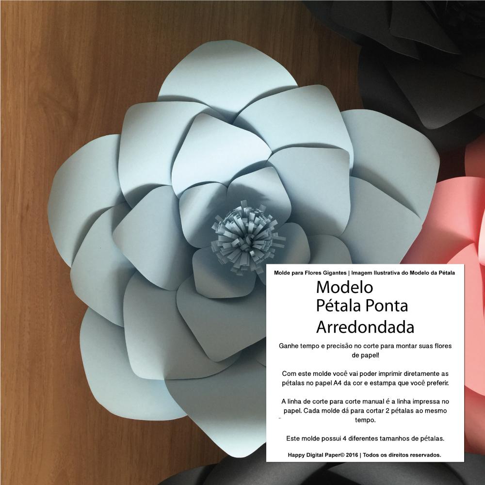 Molde Digital P Flor Gigante De Papel No Elo7 Happy Digital Paper  -> Modelos De Papel De Parede Em Forma De Flores