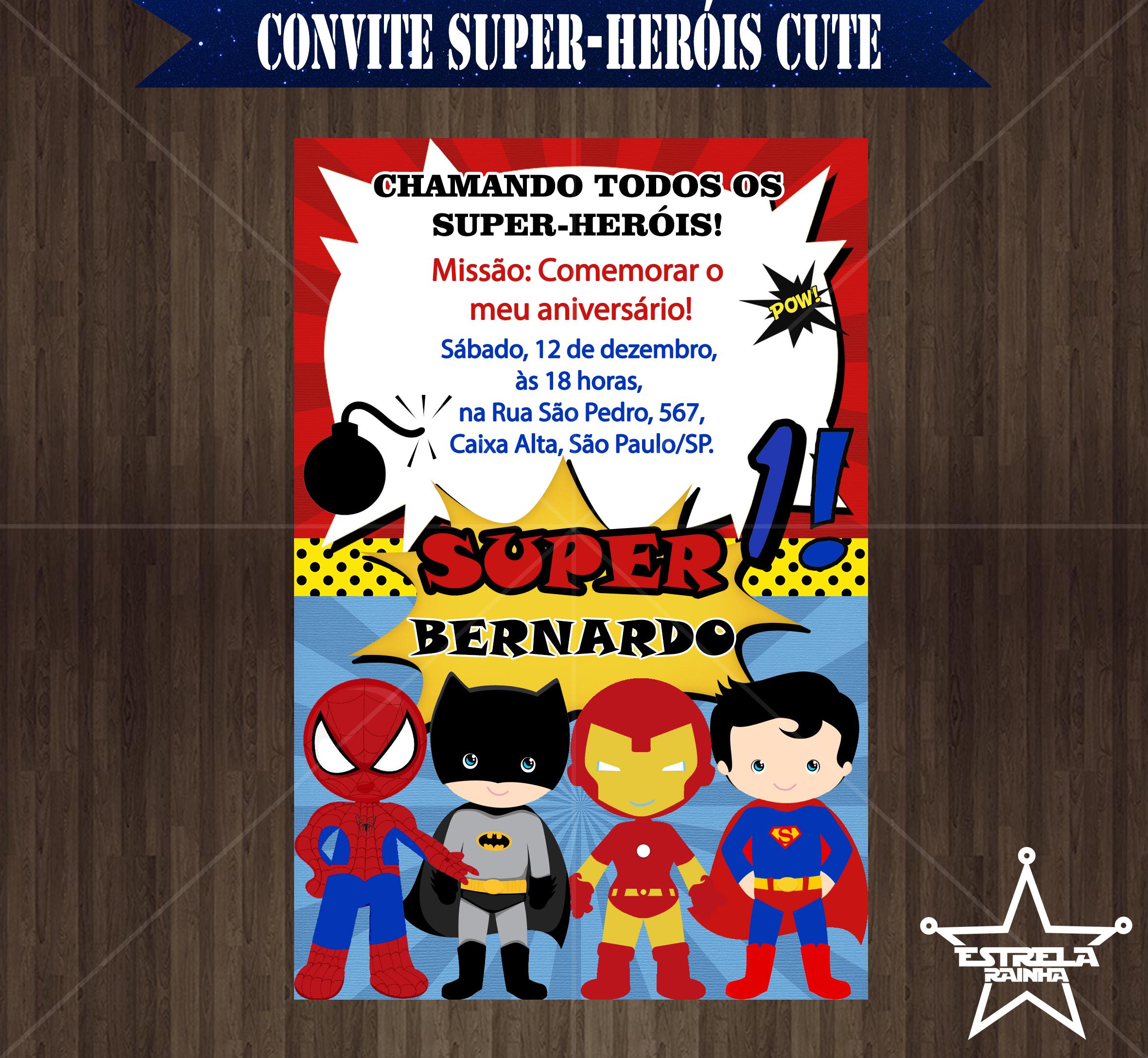 Convite Festa Super Heris Para Imprimir Festa De Arthur 2 In 2018