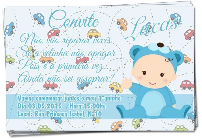 Convite De Aniversário De 1 Ano Menino No Elo7 Lulu