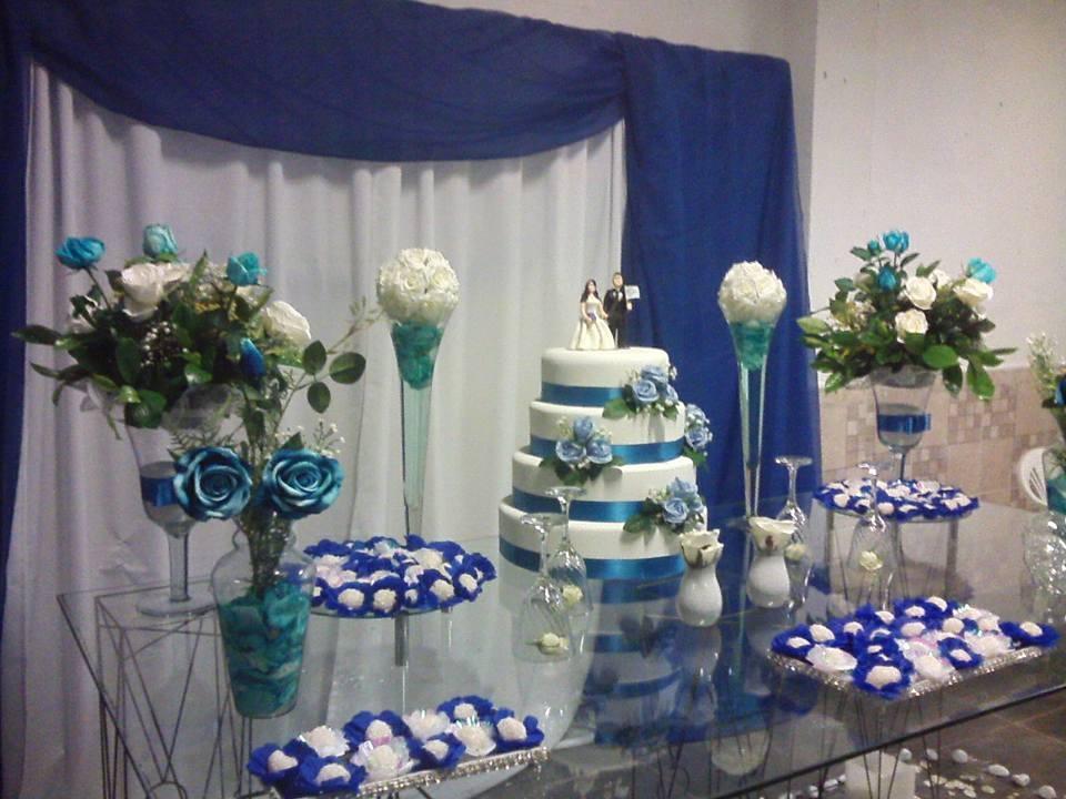 Decoraç u00e3o Casamento Azul e Branco Anabelle Decorações Elo7 -> Enfeites De Mesa Para Casamento Azul E Branco