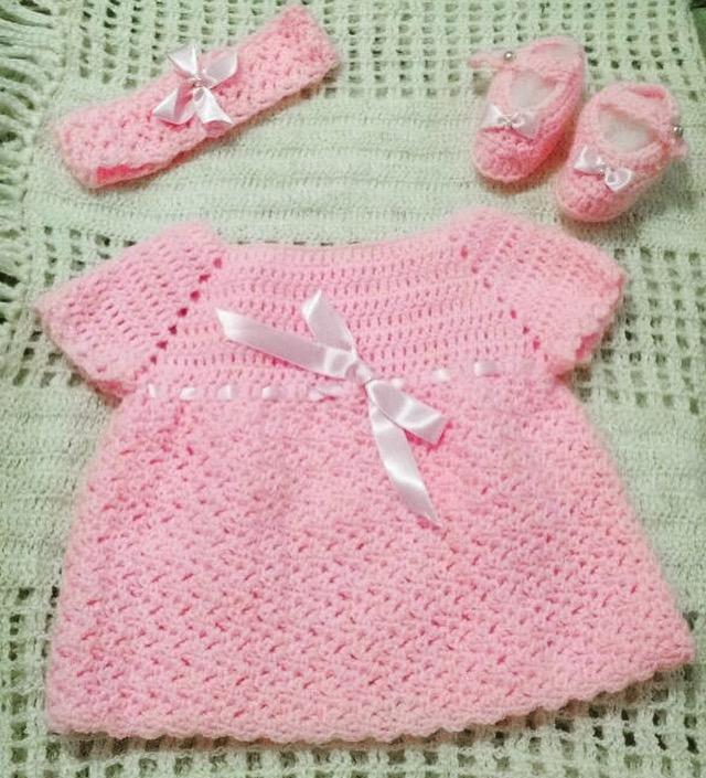 f38bb808fcc3 Vestido de crochê bebê 0 a 3 meses no Elo7   Mimos Line (75E51C)
