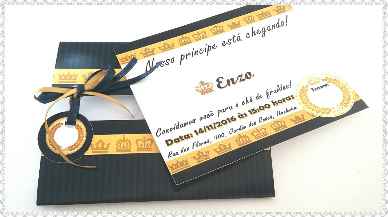 Convite Cha De Bebe Realeza Azul Marinho Elo7